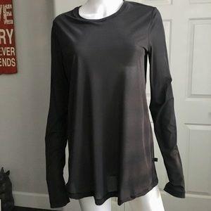 Lululemon Sheer Black Long Sleeve Shirt Top Large